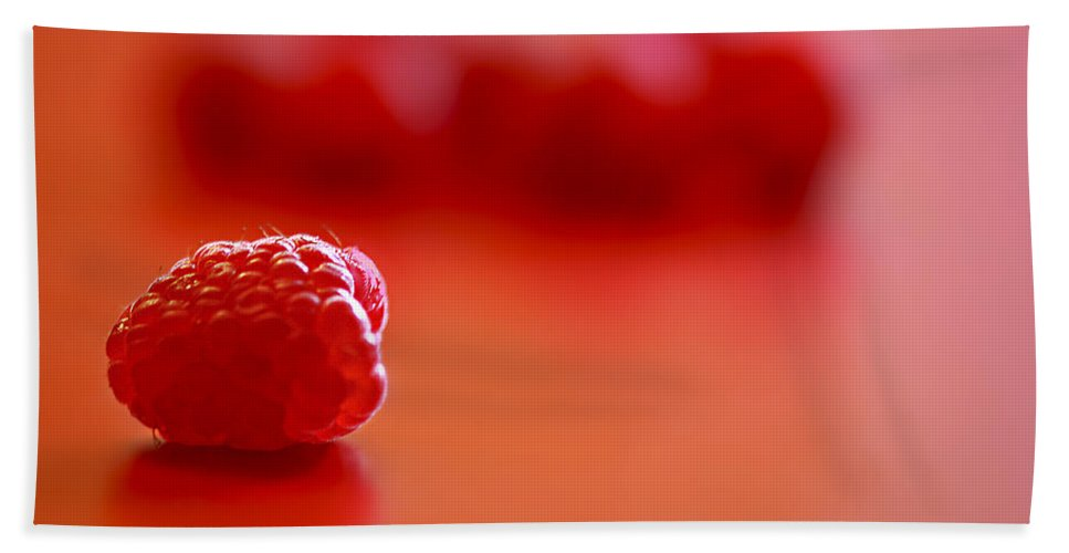 Red Bath Sheet featuring the photograph All Alone by Evelina Kremsdorf