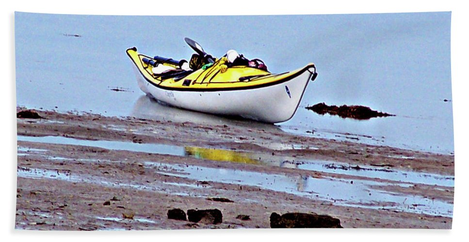 Kayak Hand Towel featuring the photograph All Alone by Marilyn Holkham
