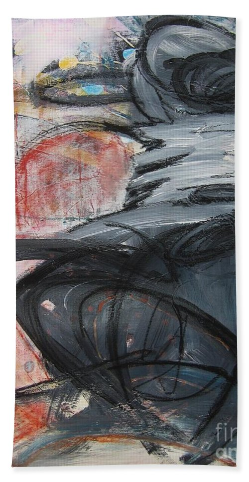Abstract Paintings Paintings Bath Towel featuring the painting All Alone by Seon-Jeong Kim