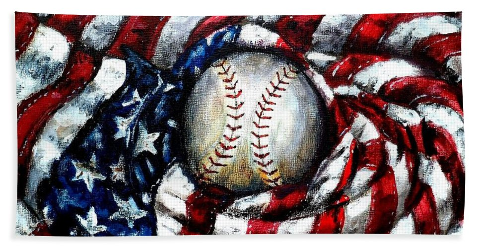 America Hand Towel featuring the painting All American by Shana Rowe Jackson