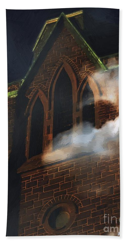 Church Hand Towel featuring the painting All Hallows by RC DeWinter