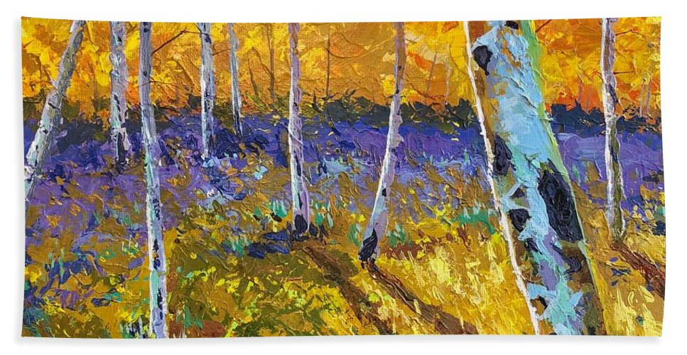 Aspen Bath Towel featuring the painting All In The Golden Afternoon by Hunter Jay