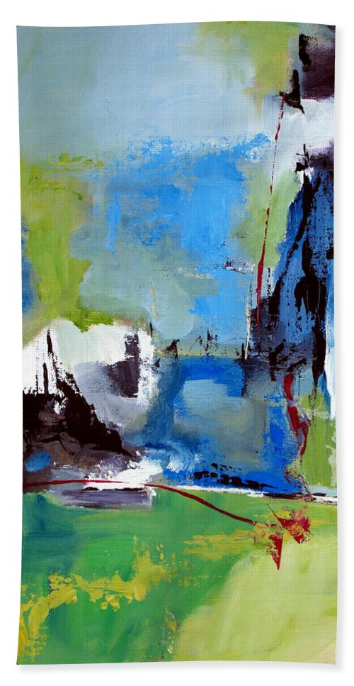 Abstract Bath Sheet featuring the painting All Is Not Lost by Ruth Palmer