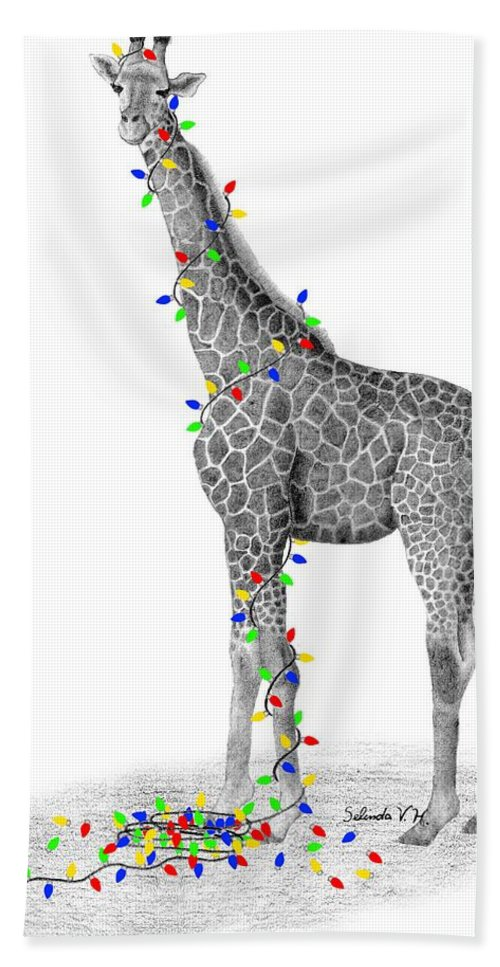 Giraffe Hand Towel featuring the drawing All Lit Up by Selinda Van Horn