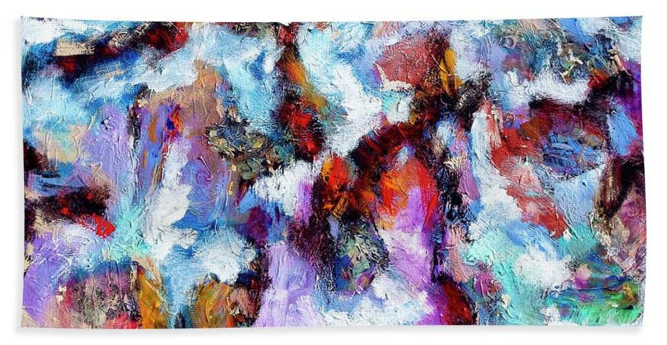 Abstract Bath Sheet featuring the painting All She Wrote by Dominic Piperata