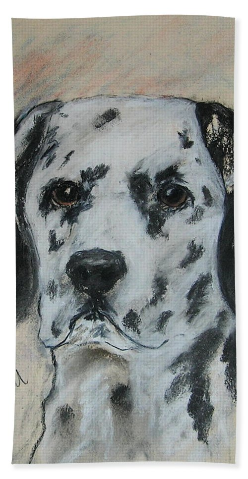 Dalmatian Bath Sheet featuring the drawing All Spots by Cori Solomon