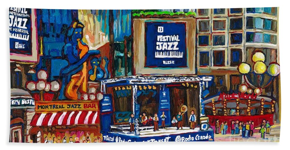 Montreal Hand Towel featuring the painting All That Jazz by Carole Spandau