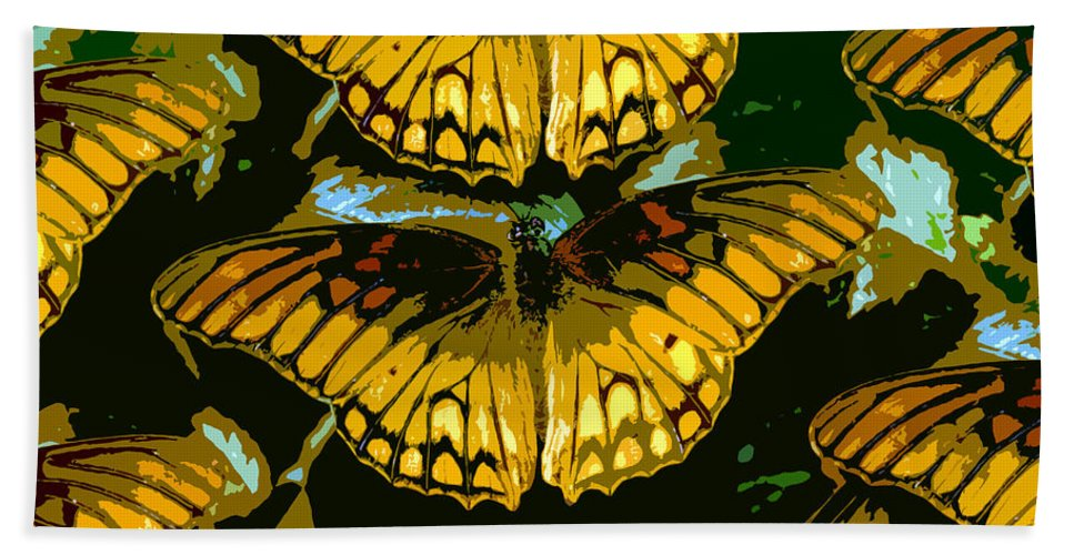 Butterflies Bath Sheet featuring the painting All The Butterflies by David Lee Thompson