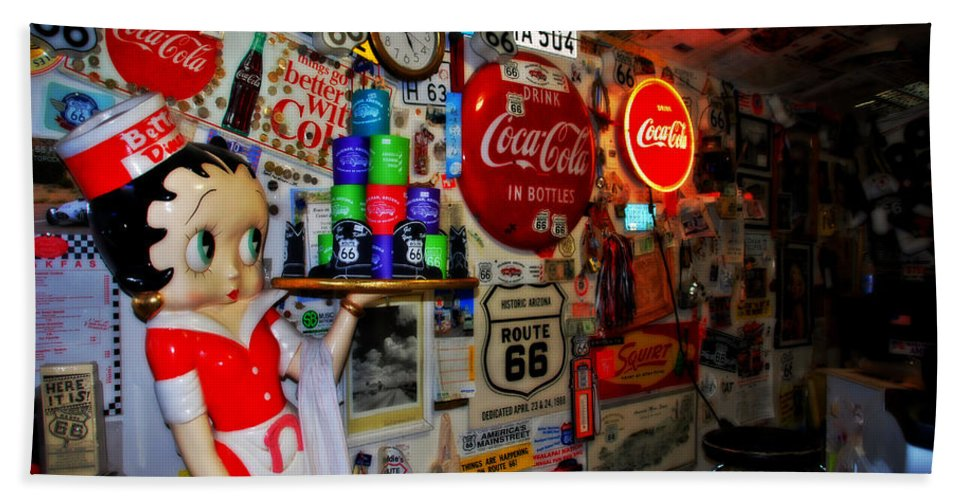 Route 66 Bath Sheet featuring the photograph All The Souvenirs Of Route 66 by Susanne Van Hulst