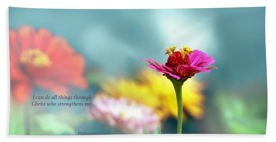 Scripture Bath Sheet featuring the photograph All Things by Debbie Nobile