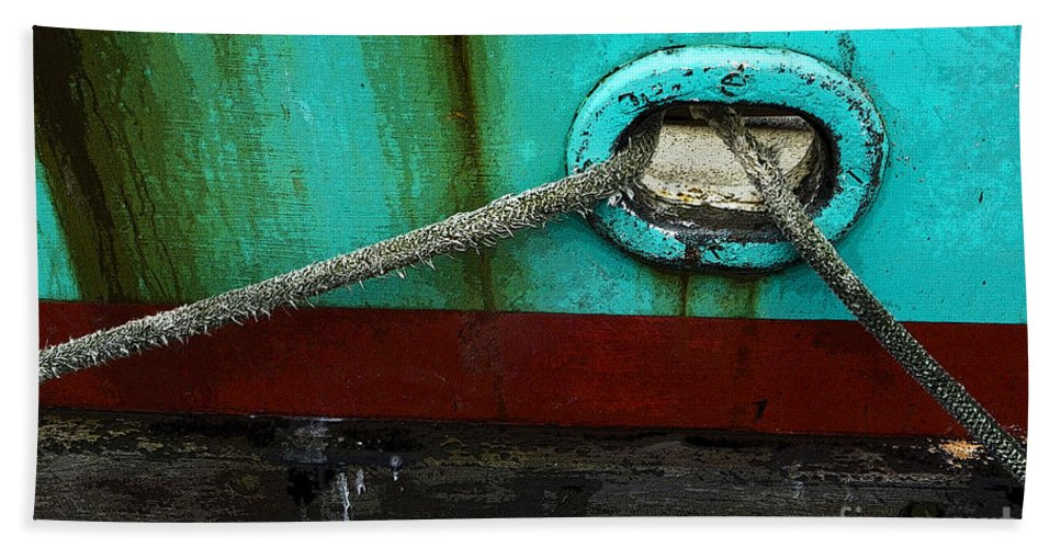 Boats Bath Sheet featuring the photograph All Tied Up by Bob Christopher