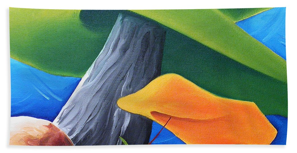 Landscape Hand Towel featuring the painting All Under One Roof by Richard Hoedl