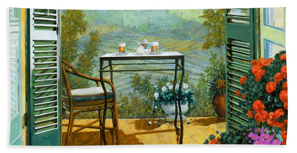 Terrace Hand Towel featuring the painting Alle Dieci Del Mattino by Guido Borelli