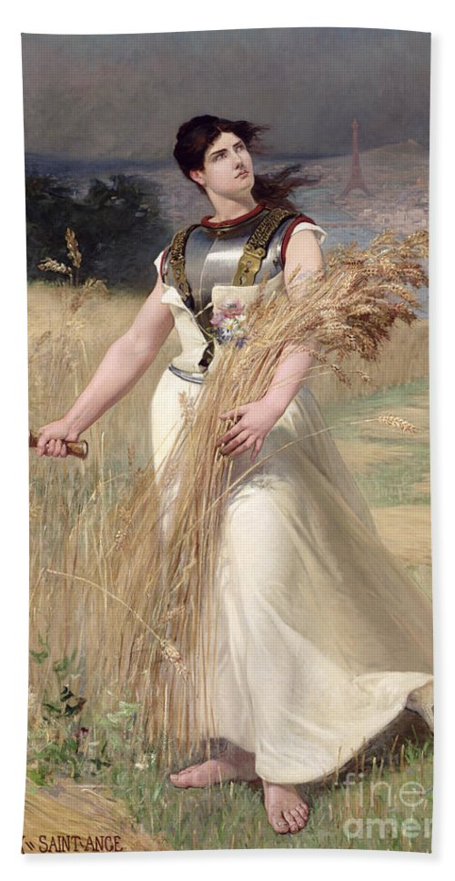 Female; Allegorical; Harvest; Corn Field; Scythe; Agriculture; Eiffel Tower; Paris; River Seine; Cutting; Harvesting; Abundance; Symbolist; Sickle; Symbol Hand Towel featuring the painting Allegory Of France by Georges Louis Poilleux Saint Ange