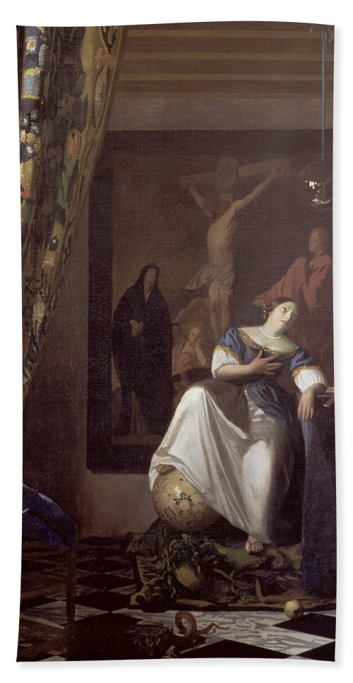 Vermeer Bath Sheet featuring the painting Allegory Of The Faith by Jan Vermeer