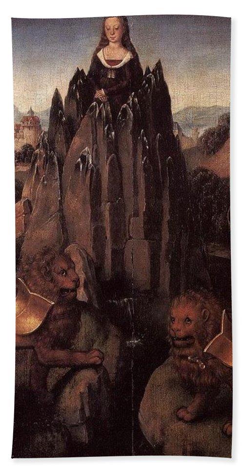 Cloak Bath Towel featuring the digital art Allegory With A Virgin 1479 80 Hans Memling by Eloisa Mannion
