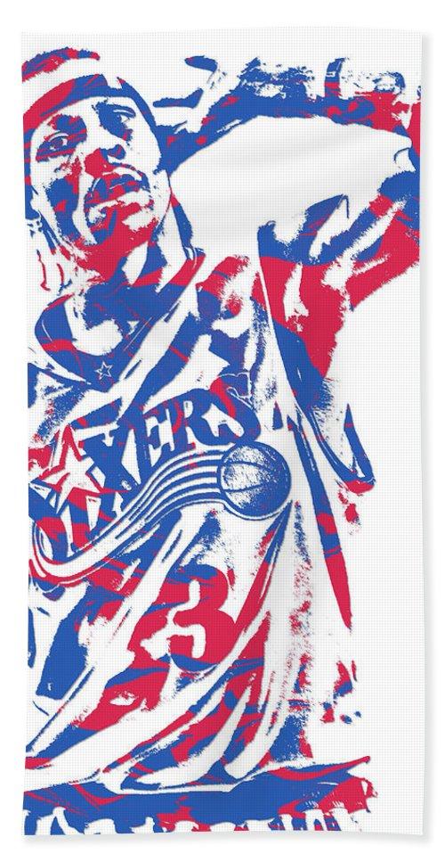 Allen Iverson Bath Towel featuring the mixed media Allen Iverson Philadelphia 76ers Pixel Art 14 by Joe Hamilton