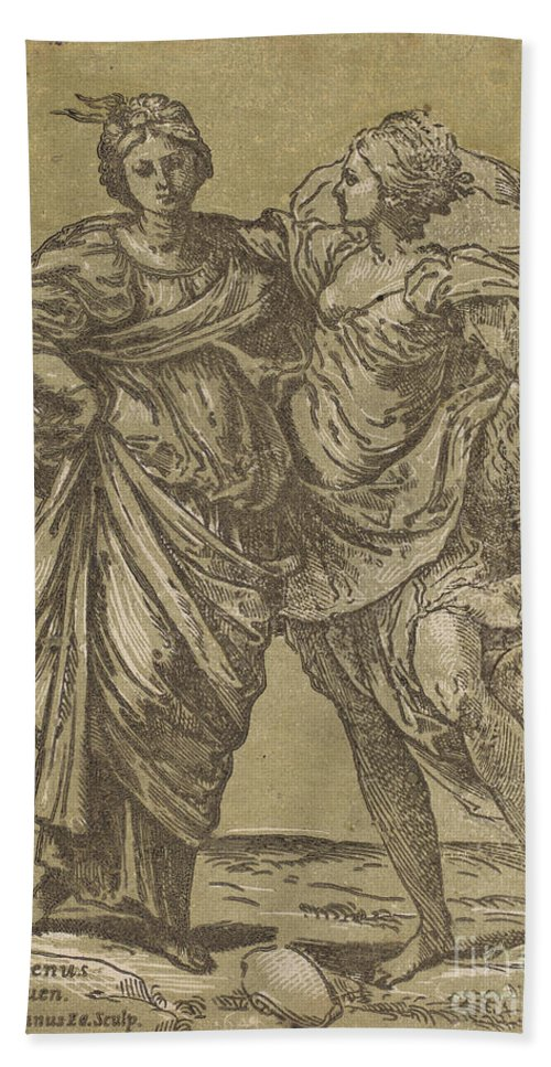Hand Towel featuring the drawing Alliance Of Peace And Abundance by Bartolomeo Coriolano After Guido Reni