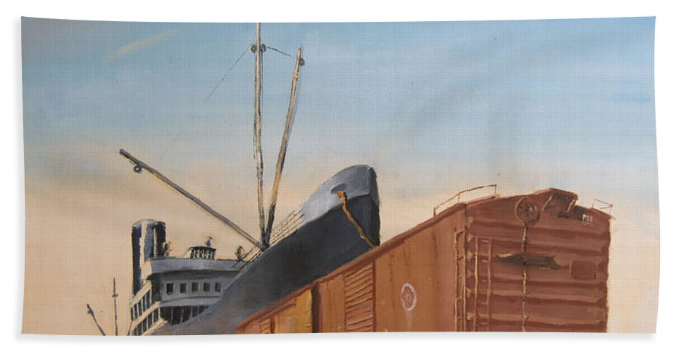 Ship Hand Towel featuring the painting Allied Orient Lines by Christopher Jenkins