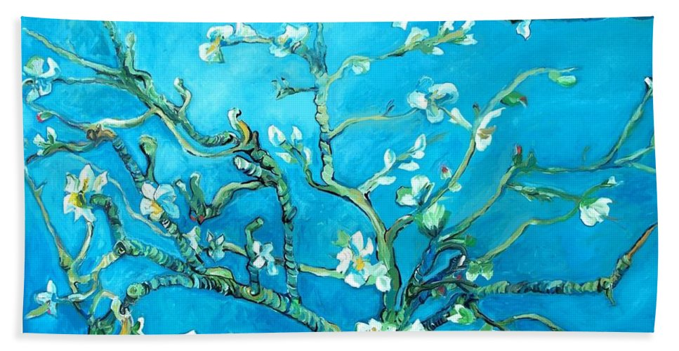 Almond Blossom Hand Towel featuring the painting Almond Blossom by Eric Schiabor