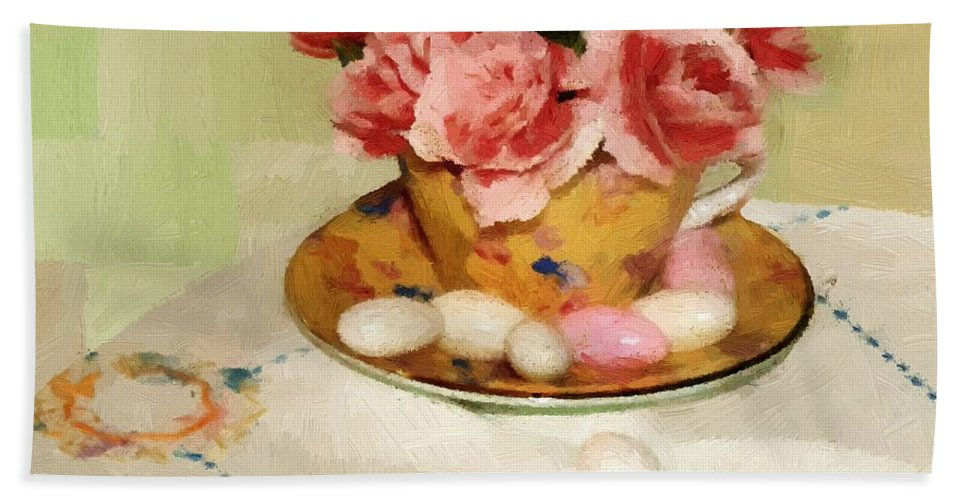 Almonds Hand Towel featuring the painting Almond Blossom Tea by RC DeWinter