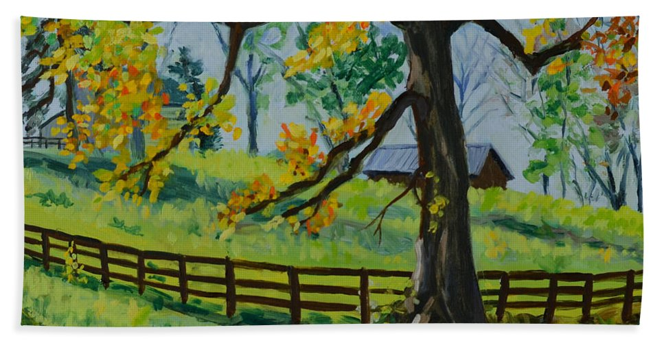 Country Hand Towel featuring the painting Almost Home by Eugenie B Fein