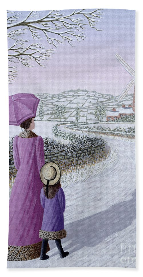 Naive; Landscape; Windmill; Shadow; Umbrella; Parasol Hand Towel featuring the painting Almost Home by Peter Szumowski