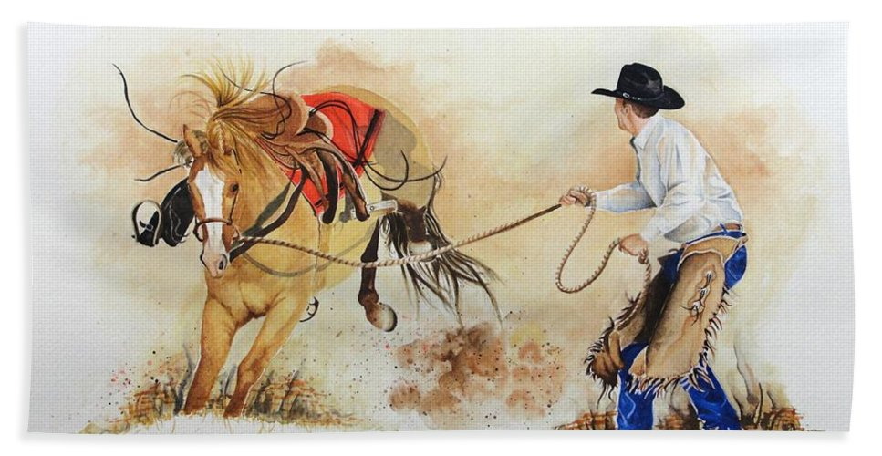 Western Hand Towel featuring the painting Almost Ready by Jimmy Smith