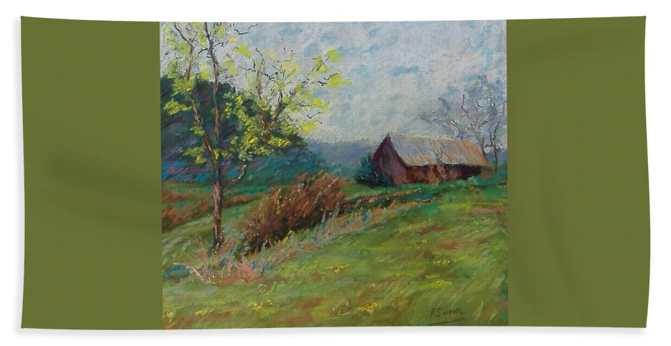 Landscape Hand Towel featuring the pastel Almost Spring by Pat Snook