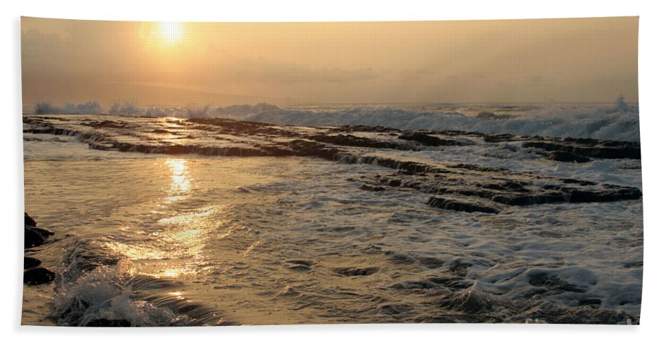 Aloha Bath Sheet featuring the photograph Aloha Oe Sunset Hookipa Beach Maui North Shore Hawaii by Sharon Mau
