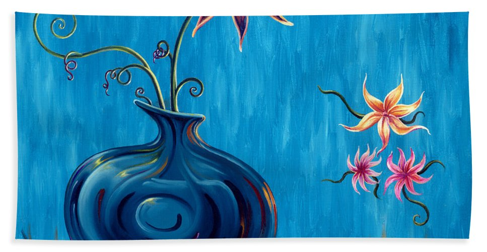Fantasy Floral Scape Bath Sheet featuring the painting Aloha Rain by Jennifer McDuffie