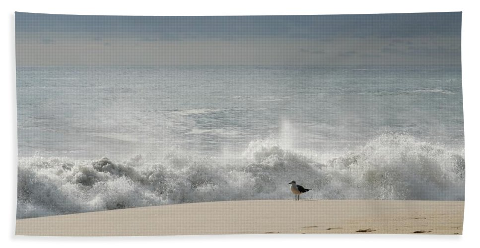 Jersey Shore Hand Towel featuring the photograph Alone - Jersey Shore by Angie Tirado