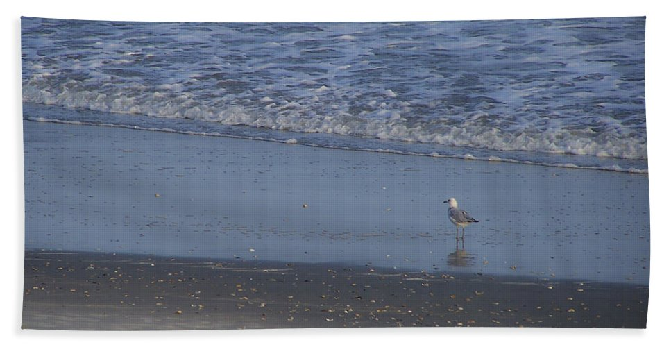 Ocean Hand Towel featuring the photograph Alone In The Sand by Teresa Mucha