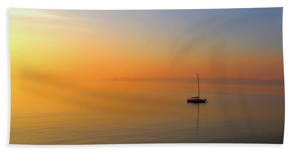 Seascape Bath Sheet featuring the photograph Alone by Karl Ford