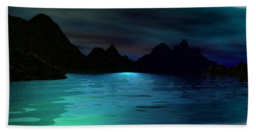 Seascape Bath Sheet featuring the digital art Alone On The Beach by David Lane
