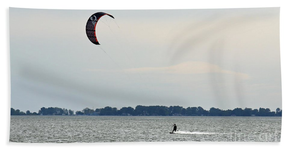Kiteboard Bath Sheet featuring the photograph Alone On The Water by John Wijsman