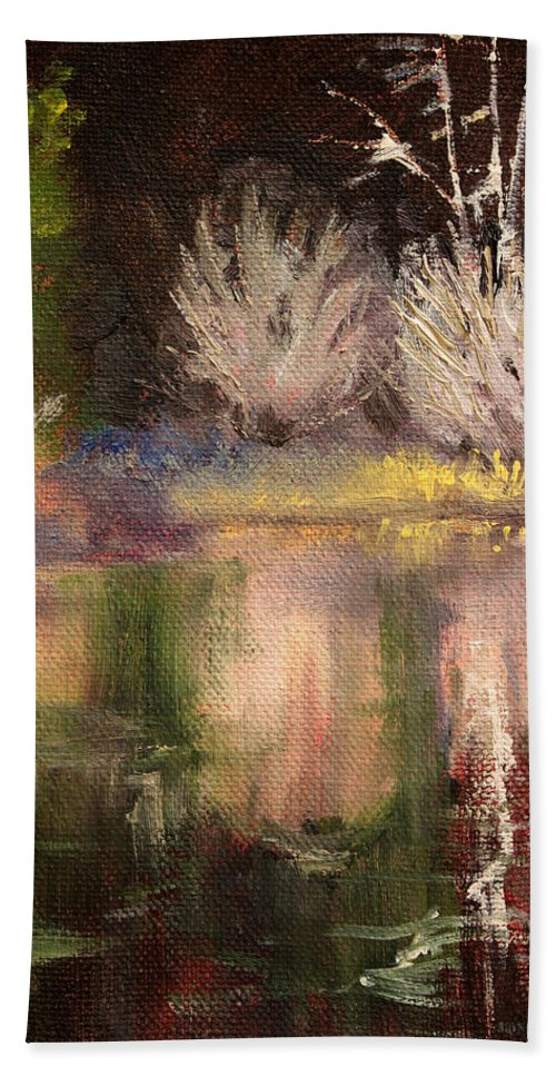 Oregon Landscape Hand Towel featuring the painting Along The Bank by Nancy Merkle