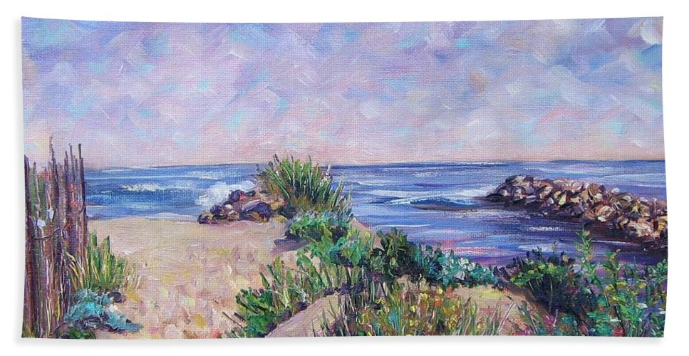 Shore Hand Towel featuring the painting Along The Breachway Rhode Island by Richard Nowak