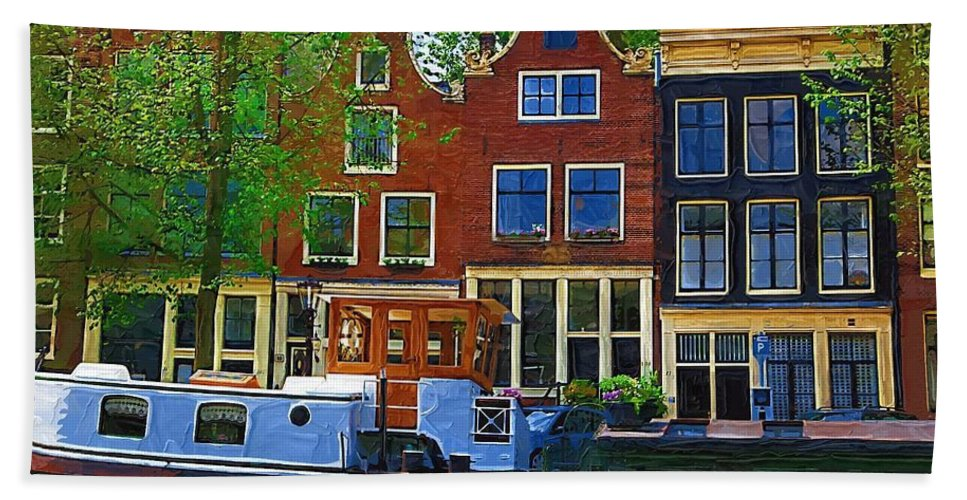 Amsterdam Bath Sheet featuring the photograph Along The Canal by Tom Reynen