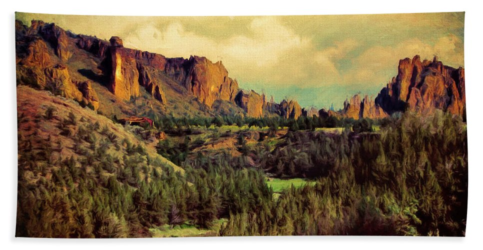 Crooked River Bath Sheet featuring the photograph Along The Crooked River by Debbie Smith