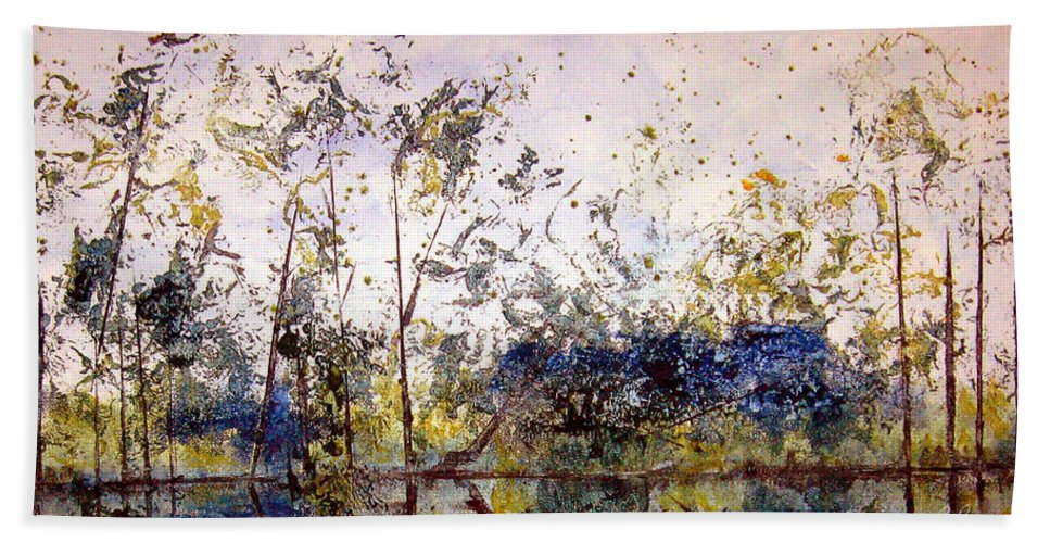 Abstract Hand Towel featuring the painting Along The River Bank by Ruth Palmer