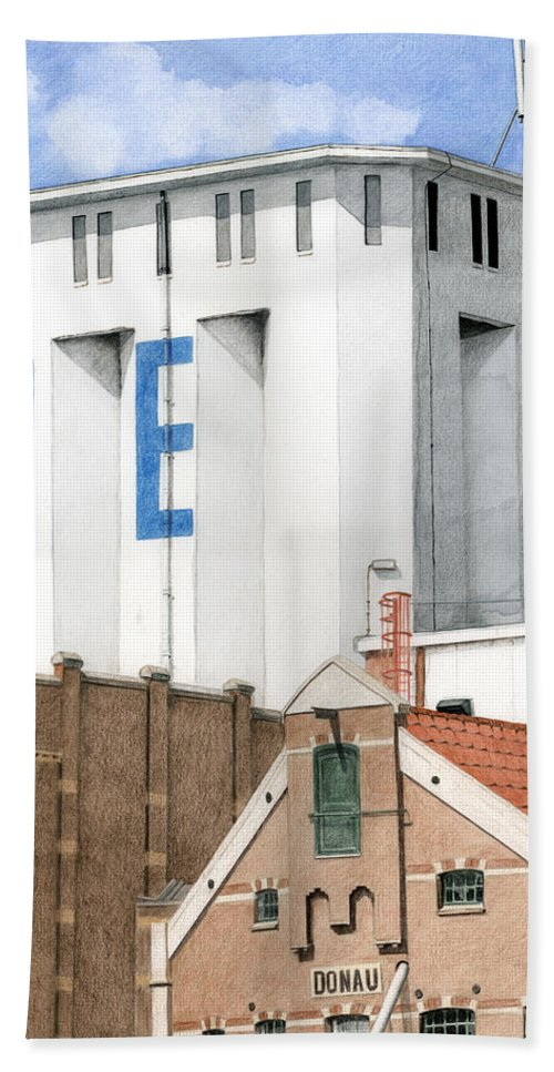 Mixed Media Hand Towel featuring the mixed media Along The River Zaan Lassie Silo by Rob De Vries