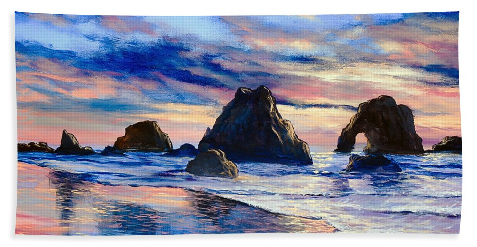 Seascape Hand Towel featuring the painting Along The Rocky Coast by Marco Antonio Aguilar
