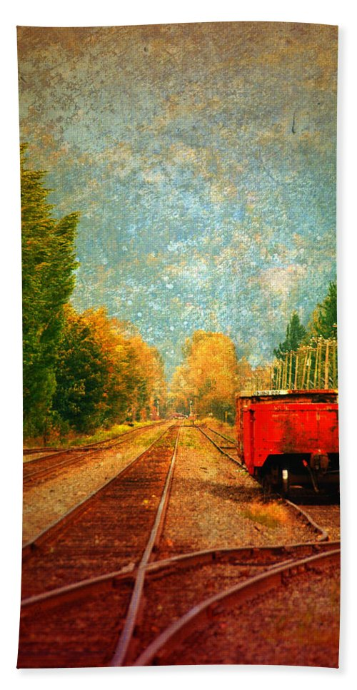 Railway Tracks Hand Towel featuring the photograph Along The Tracks by Tara Turner