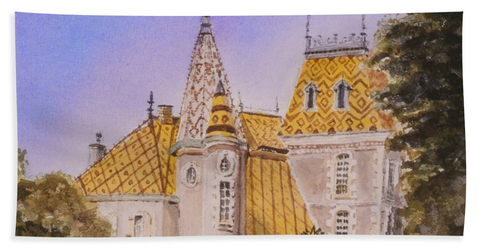 Vineyard Hand Towel featuring the painting Aloxe Corton Chateau Jaune by Mary Ellen Mueller Legault