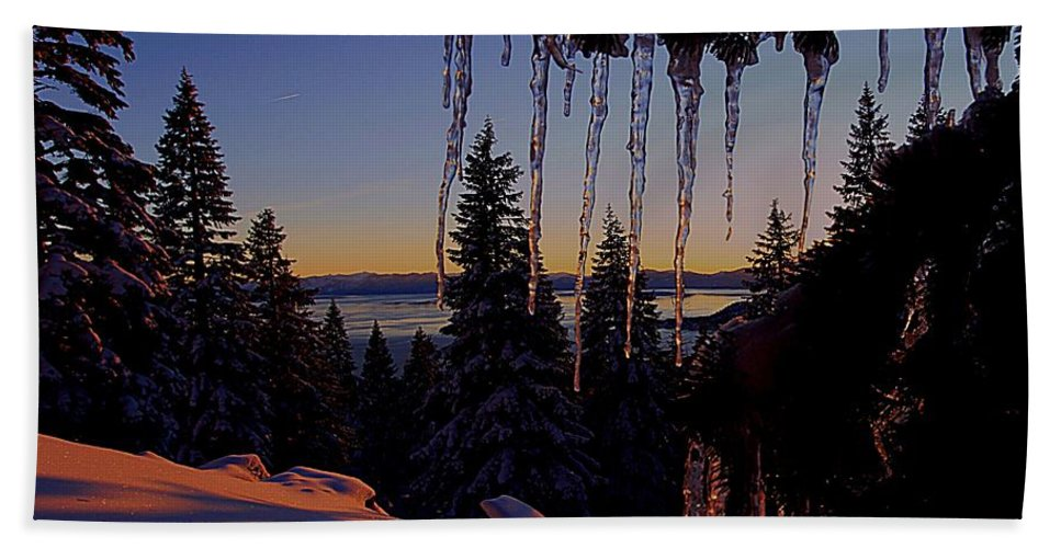 Lake Tahoe Hand Towel featuring the photograph Alpenglow Claws by Sean Sarsfield