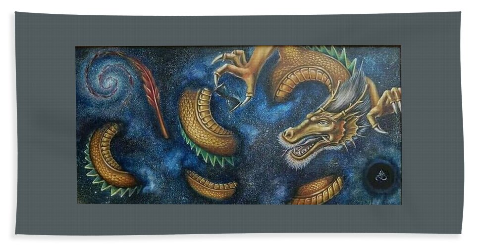 Dragon Hand Towel featuring the painting Alpha And Omega by Alexandru Burca