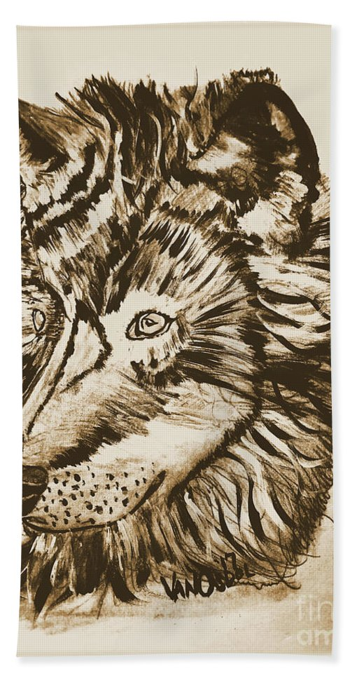 Alpha Hand Towel featuring the mixed media Alpha Male - The Wolf - Antiqued by Scott D Van Osdol