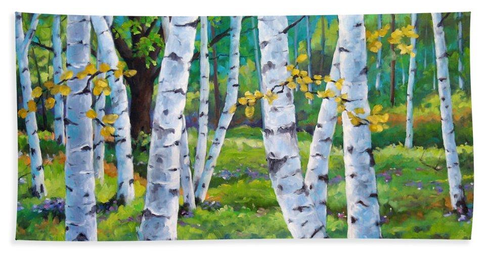 Birche; Birches; Tree; Trees; Nature; Landscape; Landscapes Scenic; Richard T. Pranke; Canadian Artist Painter Bath Towel featuring the painting Alpine Flowers And Birches by Richard T Pranke