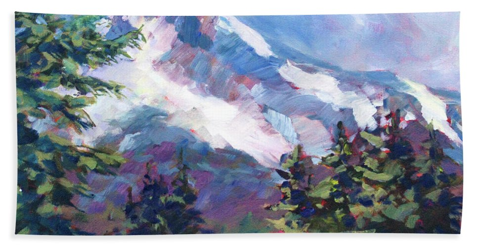 Mt. Hood Bath Sheet featuring the painting Alpine View by Melissa Gannon